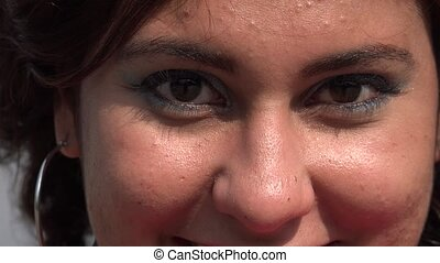 Close Up of Woman Blinking