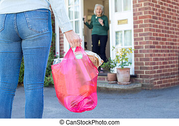 Close Up Of Woman Doing Shopping For Senior Neighbor