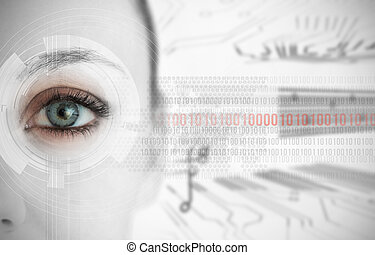Close up of woman eye with futuristic interface showing...