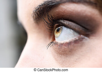 Close-up of woman eye with long eyelashes