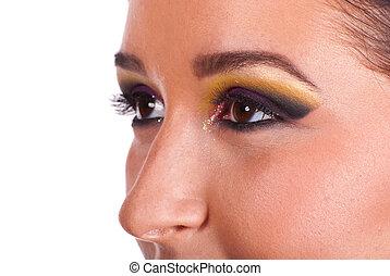 Close up of woman eyes makeup