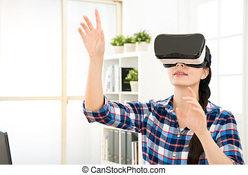 close up of woman getting using VR-headset