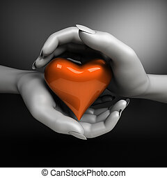 Close up of woman hands holding heart