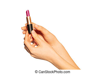 Close up of woman hands holding open lipstick tube