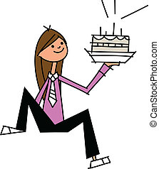 close-up of woman holding cake