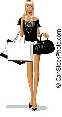 close-up of woman holding shopping bags