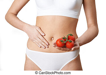 Close Up Of Woman In Underwear Holding Tomatoes And Touching...