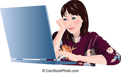 Close-up of woman is sitting by laptop