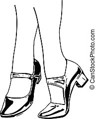 close-up of woman legs Illustration of women's shoes