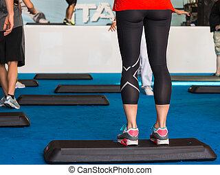 Close Up of Woman Legs, Step Platform