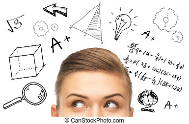 education, school, mathematics and people concept - close up of woman looking up to mathematical doodles