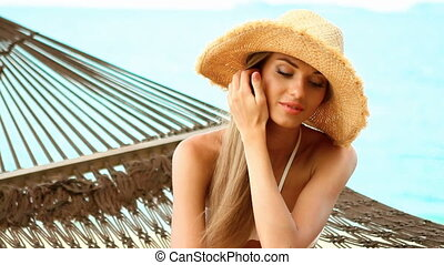Close up of woman on hammock at the