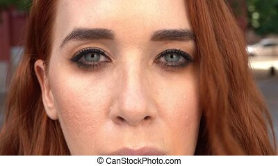 Woman s Face, Girl opening her Beautiful blue Eyes, - Close ...
