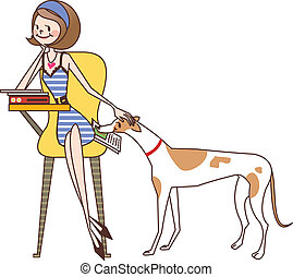 close-up of woman sitting on chair by dog