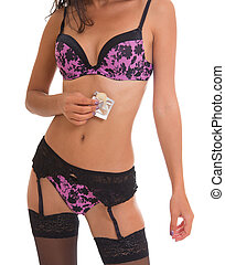 Close-up of woman torso in lingerie with condom - Close up...