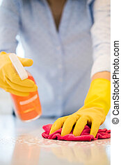 Close Up Of Woman Using Spray Polish To Clean Kitchen ...