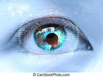 Close-up of woman's blue eye the futuristic, contact lens, eye cataract
