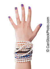 Close-up Of Woman's Hand With Pearl Bracelet Isolated On ...