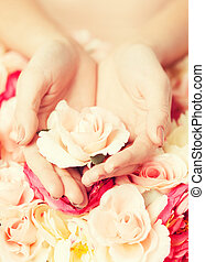 woman's hands holding rose
