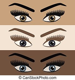 Close up of women pair of eyes looking with long lashes and eyebrows icons set on different skin color