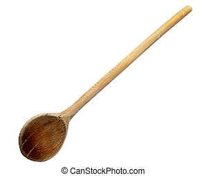 wooden spoon - close up of wooden spoon on white background...