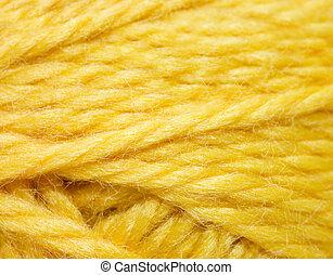 Close up of woolen knitting ball