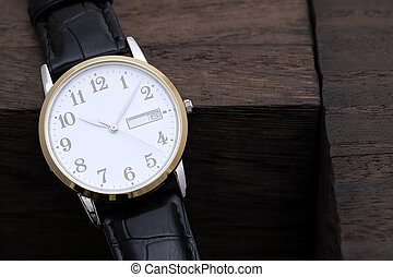 wristwatch with leather strap