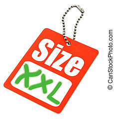 close-up of XXL Size Tag isolated on white background