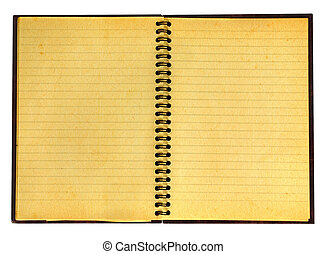 close-up of yellowed open notebook isolated on pure white background, well visible paper texture