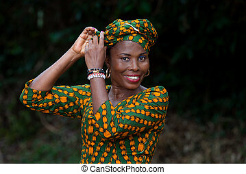 close-up of young african woman, happy.