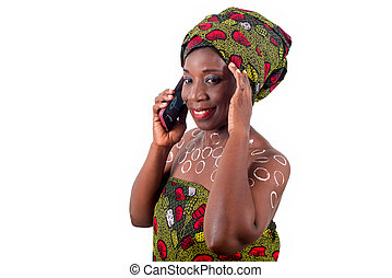 close-up of young african woman with happy mobile phone.