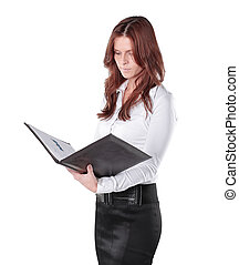 close-up of young business woman with clipboard isolated on white