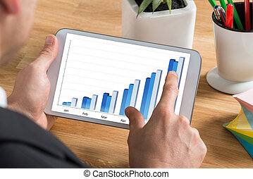 Businessman Looking At Graph On Digital Tablet