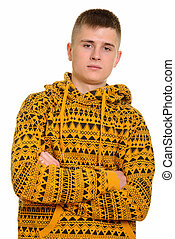 Close up of young Caucasian man with arms crossed