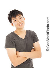 close-up of young handsome man isolated a white background