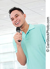 man talking with microphone