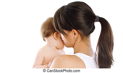 Close up of young mother and baby isolated on a white background