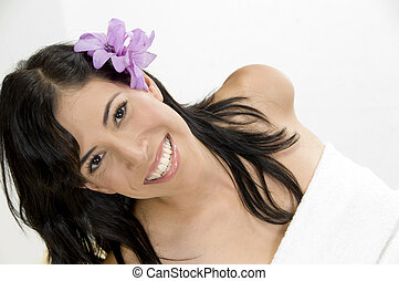 close up of young smiling woman
