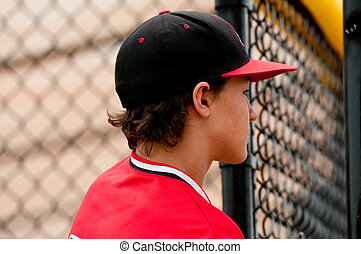 Close up of Young teen baseball player