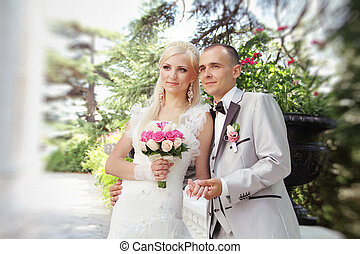 Close up of young wedding couple