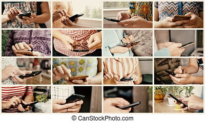 Close-up of young woman hands typing sms and scrolling ...