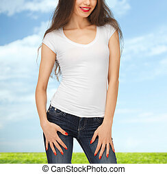 close up of young woman in blank white t-shirt