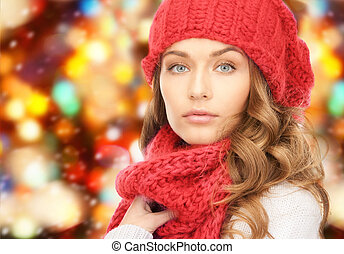 close up of young woman in winter clothes - happiness, ...