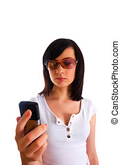 Close up of young woman texting on mobile phone