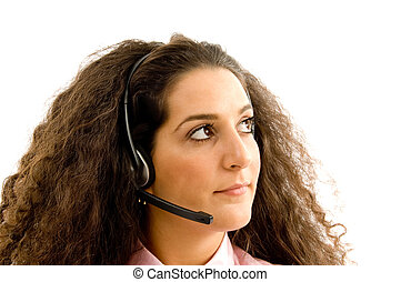 close up of young woman with headset