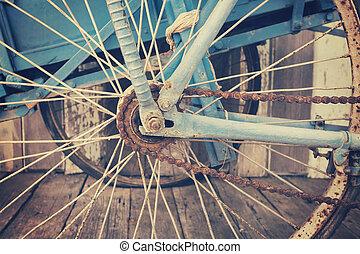 Close up old bike chain vintage