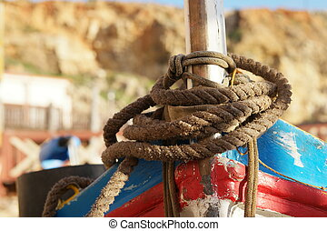 Close up Old Brown Rope Tie on a Boat