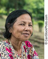 Close up old Thai woman portrait