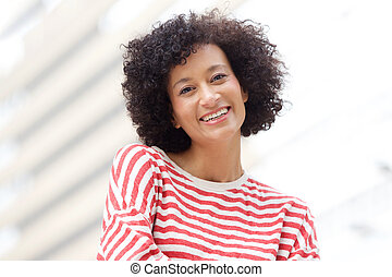 Close up older african american woman smiling outdoors