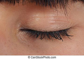 close-up, olho fechou
